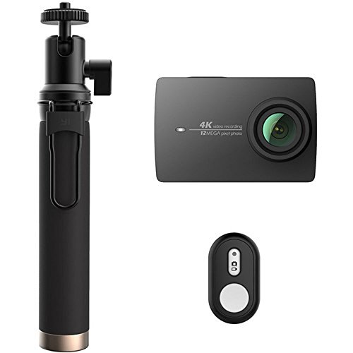 YI 4K Action and Sports Camera Selfie Stick Bundle, 4K/30fps Video 12MP Raw Image with EIS, Voice Control - Black