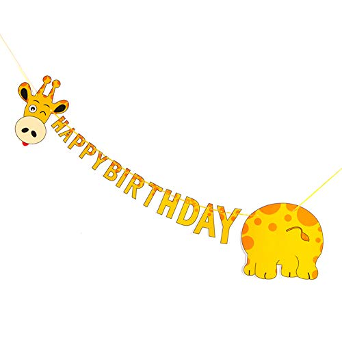SUNBEAUTY Giraffe Happy Birthday Banner Tiere Kindergeburtstag Kreative Deko Safari Dekoration Dschungel Party