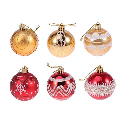 Amosfun 24pcs Shatterproof Christmas Ball Satin Shiny Glitter Ball Ornaments Christmas Tree Hainging Decorations