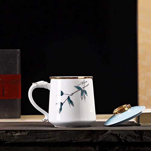 Taza de cerámica pintada a mano taza de filtro de oficina de cerámica taza de café de gran capacidad con tapa taza de jefe D