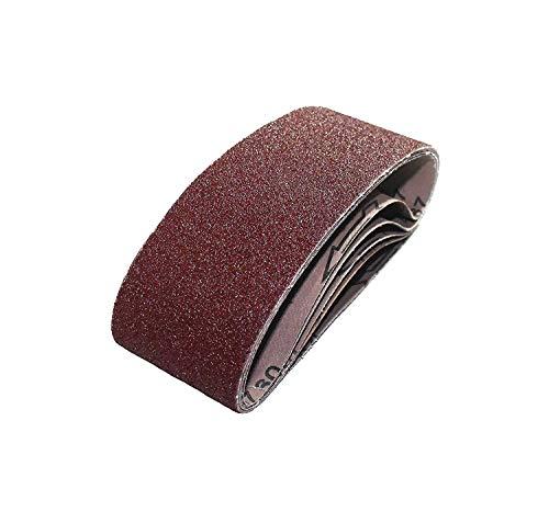 10 Stück Gewebe-Schleifbänder gemischt 75 x 457 mm, für Bandschleifer - 5 Körnungen jeweils 2 x K40/60/80/120/180 / Schleifpapier/Schleif-Mix/Schleifbänder