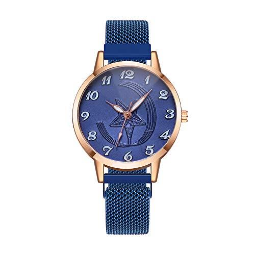 JZDH Relojes para Mujer Señoras de Hebilla magnética Correa Correa de Acero Reloj Fino Reloj de Pulsera Mujer Pulsera Reloj Informal Relojes Decorativos Casuales para Niñas Damas (Color : Blue)