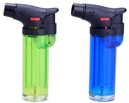 JET FLAME 'CREME BRULEE' , Küchenbrenner Gas Flambierer, Sturm-Feuerzeug (2x Farbe wird zufällig ausgewählt) + 1x ( Konsumany® Stab- Sturmfeuerzeug 12,5 cm Lang )