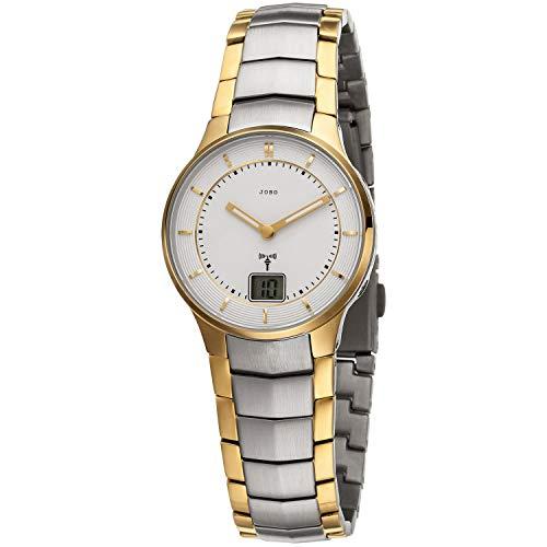 JOBO Reloj de pulsera para mujer controlado por radio, de acero inoxidable, bicolor, dorado con