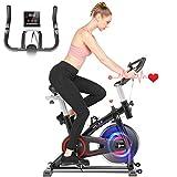 Heka Bicicleta Estática para Fitness, Bicicleta Spinning Bici Estática de Interior, Bicicleta de Ejercicio Resistencia Ajustable con Pantalla LCD y Monitor de Frecuencia Cardíaca, Max peso 150 kg