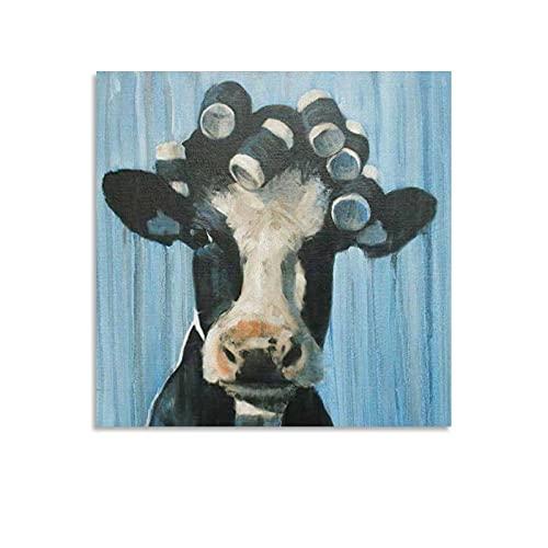 Poster Kuh mit gelocktem Haar, lustige Tierkunst, Ölgemälde, Leinwanddruck, zum Aufhängen, 40 x 40 cm