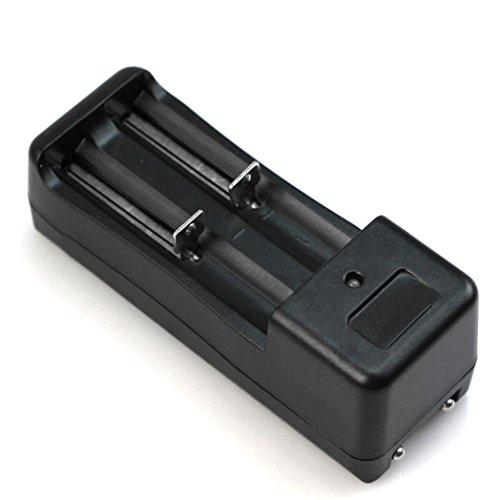 Cargador de bateria - TOOGOO(R) Doble Cargador de bateria Universal para 2 Bateria Pila Litio 18650 16340 Recargable 3.7V Li-Ion Negro