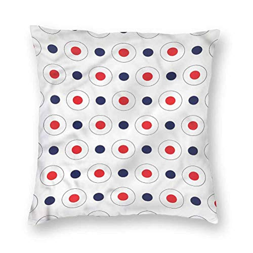 YUAZHOQI Pillow Covers 16' x 16', Retro,Old Pop Art Dots Circles, Square Decorative Pillowcases for Bench Couch Livingroom(1 Pack)