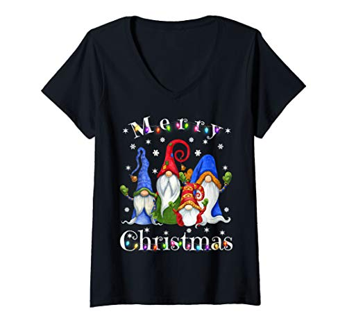 Womens Gnome Christmas Pajamas - Garden Gnome Merry Christmas V-Neck T-Shirt
