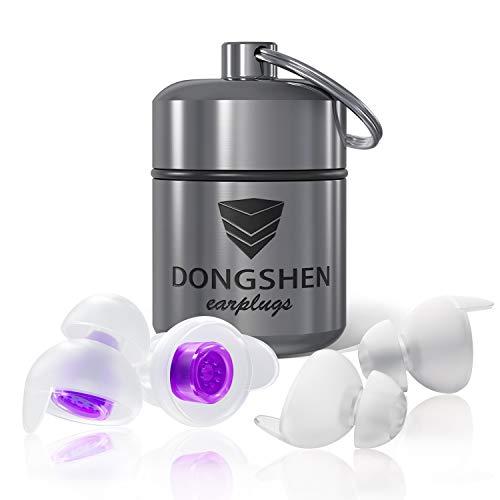 DONGSHEN Women Schlaf Gehörschutz Ohrstöpsel zum Schlafen und gegen Schnarchen,Besonders leicht zu tragen,mit Alubehälter-2 Zusätzliche Stöpsel Für Kleine Ohren (Violett)