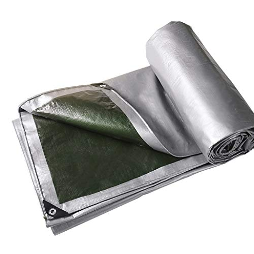 FFF8 Outdoor Rainproof Tarpaulin, Foldable Insulated Plastic Cover Cloth Camping Placemat (Size : 8 * 12m)