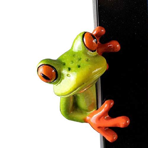 Youor Figurine décorative en résine 3D en forme de grenouille, création artisanale miniature, idéale sur un bureau près de l'ordinateur, Résine, Side Style