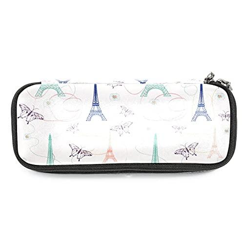 Estuche para lápices con diseño de Torres Eiffel de París con mariposas, gran capacidad para rotuladores, bolsa organizadora de maquillaje, bolsa para escuela, oficina, adulto y niña