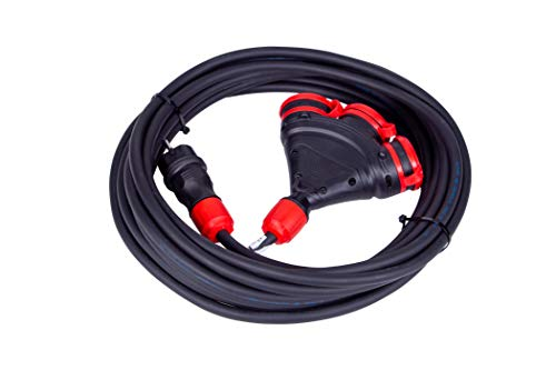MRS Cable alargador de alta potencia 16 A 230 V Schuko 3 x 2,5 para exteriores, IP54, IP44 (16 A/3 x 16 A, 30 m)