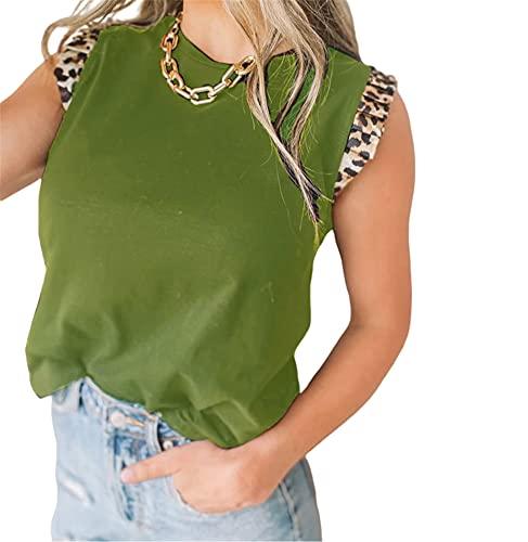 Camiseta Sin Mangas Mujer Verano Sexy Patrón De Leopardo Empalme Cuello Redondo Sin Mangas Top Moda Urbana Temperamento Casual Elegante Mujer Tops Mujer Camisas C-Green M