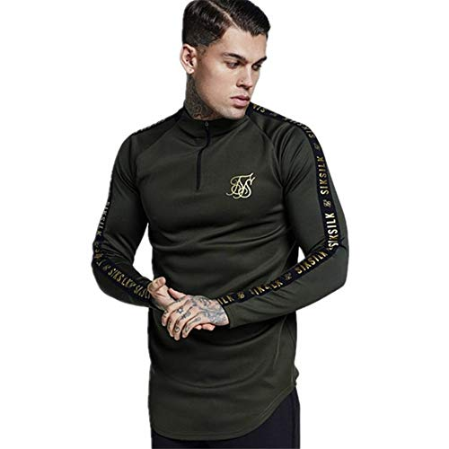 SK Seda españa Camisas Hombres Siksilk Manga Larga Camiseta Hombres otoño Sudaderas Hip Hop Streetwear SIK Camiseta Seda Seda Sudadera Seda (Color : Army Green, Size : L(60 65kg))