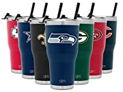 Officially Licensed: Show off your NFL Seattle Seahawks team spirit with officially licensed drinkware Vacuum Insulated: Keep your drink cold for hours with the double-walled, insulated Summit Water Bottle Flip Lid with 2 Straws - a press in flip lid...