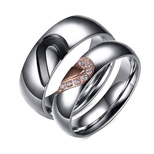 DRG Gioielli Alianzas de compromiso de acero con medio corazón, color negro y dorado. Idea de regalo para él y para ella, alianzas de boda, hombre, mujer, aniversario, compromiso FE-12 plateado