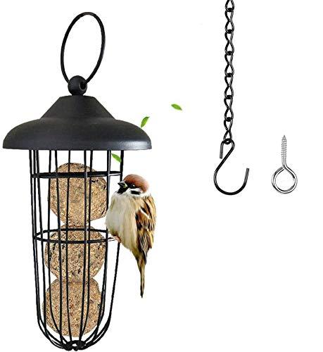 Super Idee Meisenknödelhalter zum Aufhängen mit Hängende Kette Edelstahl Vogelfutterstation Futterspender mit Dach für Wildvögel Futtersäule für Meisenknödel ohne Netz Vögel Futterhäuschen Futtersilo