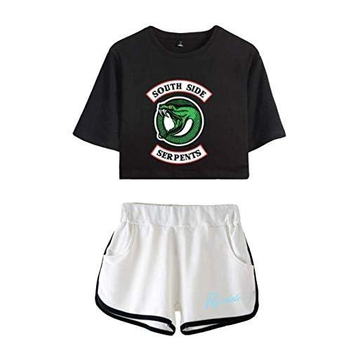Riverdale Southside Serpents Magliette Tumblr Ragazza e Shorts Estate Camicia a Maniche Corte Crop Top Donna Sexy Elegante Camicetta Casuale Top Tees T-Shirt E Pantaloncini (1, XS)