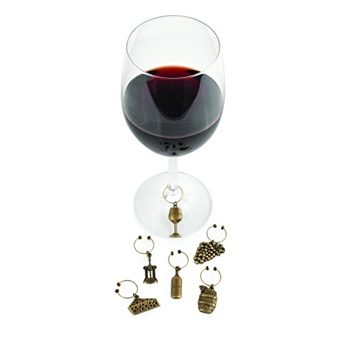 Twine Antiqued Farmhouse Decor Charms and Drink Markers for Wine Glasses, 6 Pieces