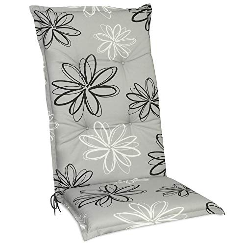 Beautissu Floral Hochlehner Auflage für Gartenstuhl – Sitzpolster 120x50 cm Auflage Hochlehner UV-Lichtecht – Gartenstuhlauflage grau mit Blumen