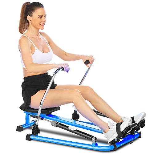 ANCHEER Hydraulisches Rudergerät, voll bewegliches, einstellbares Rudergerät mit 12-stufigem Widerstand und weichem Sitz und LCD-Monitor sowie 45-Zoll-Langer Schiene für Cardio-Übungen (Blau)