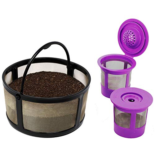 Reusable Mesh Ground Coffee Filter Carafe for Keurig K-Duo Essentials and K Duo Brewers Machine, With 2 Refillable K Cups Pod by PureHQ - Gold Tone Mesh Filter - Value Pack