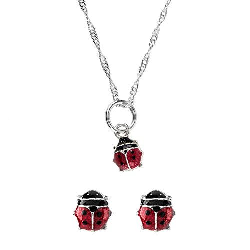 Córdoba Jewels  Conjunto de Gargantilla y Pendientes en Plata de Ley 925 y Esmalte. Diseño Mariquita