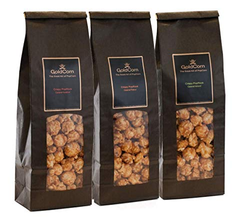 Gourmet Popcorn Nuss-Set Karamelisiert Erdnuss + Haselnuss + Mandeln / Peanut + Hazelnut + Almond Feinkost Snack Premium Popcorn Set (3 x 100g) Fertiges Popcorn & Popcorntüte | GoldCorn