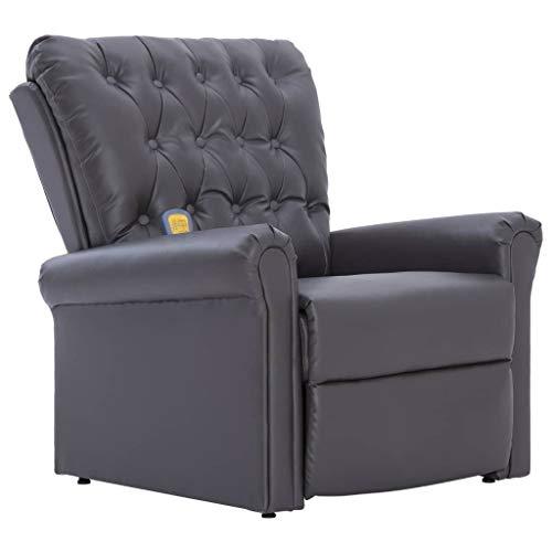 vidaXL Massagesessel mit Massage Heizfunktion Elektrisch Fernsehsessel TV Sessel Relaxsessel Relaxliege Ruhesessel Liegesessel Grau Kunstleder