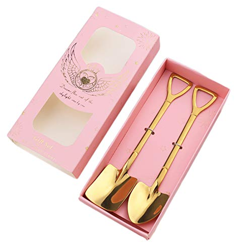 SHIFWE - Cuchara de acero inoxidable para café, té, cocina, accesorios y accesorios de color plateado y dorado