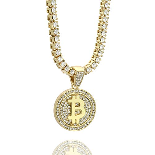 Mens 14k Gold Plated Hip Hop Bitcoin Fully Cz Pendant 6mm 24