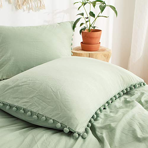 MOVE OVER Sage Green Pom Poms Pillow Case, Green King Pillowcases Set of 2, 100% Washed Microfiber, Dark Sea Green Ball Fringe Pillow Shams, 2 Pack (King, Sage Green)