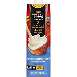 Thai Kitchen Lite Coconut Milk (Resealable, Dairy Free, Simple Ingredients, Unsweetened), 33 fl oz