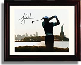 Framed Tiger Woods Autograph Replica Print - Statue of Liberty Background