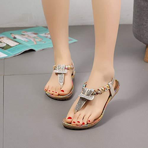 LCCYJ Women's Round Peep Clip Toe Rhinestone Elastic T-Strap Bohemia Roman Sandals Summer Beach Post Sandals Flip Flops Flat Shoes,beige,40