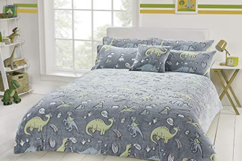 Habigail Thermo-Bettwäsche-Set, Dinosaurier-Design, leuchtet im Dunkeln, Fleece, Bettbezug und Kissenbezug, für Kinder, Dino Grau, warm, gemütlich, Einzelbettgröße (135 x 200 cm)