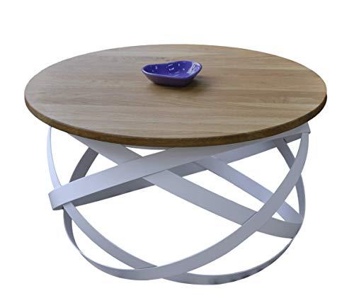 Lumarc Firenze, Tavolino da Salotto in Legno Massello di Quercia Naturale dal Design Moderno Industriale Minimalista, Rovere, Rotondo, D70 x 42,5 cm (Bianco)