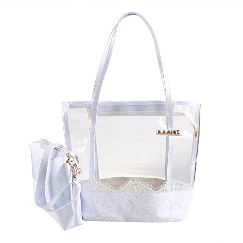 Zicac Women Girl Jelly Transparent Semi-clear PVC Beach Shoulder...