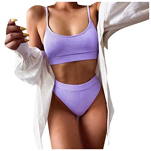 Shopler Damen Bikini Set Women's Sexy Bikini Bikini Panty Fashion Sexy High Waist Multi Color Split Damen Zweiteiliger Tankini