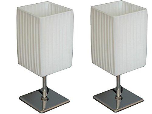 2er Set Tischleuchten BAILEY, Fuß Chrom poliert, Schirm eckig Textil weiß, Globo Lighting 24660