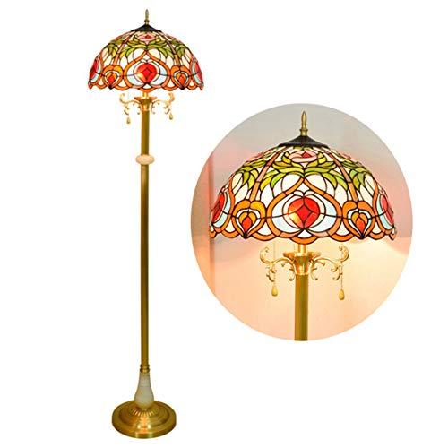 Tiffany-style vloerlamp, vintage vloer van de woonkamer lamp, 3 licht, glas in lood staande lamp voor woonkamer slaapkamer kantoor, 16 inch breed en 63-inch groot,5