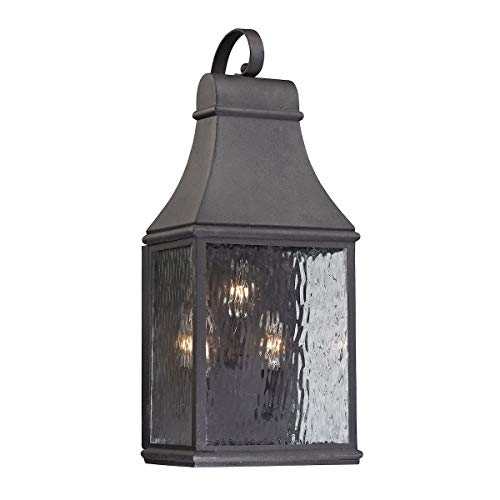 """ELK Lighting 47072/3 Forged Jefferson Collection 3 Light Outdoor Sconce, 22 x 9 x 7"""", Charcoal"""