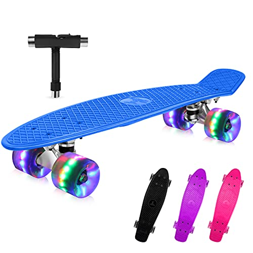 BELEEV Skateboard Komplette Mini Cruiser Skateboard für Kinder Jugendliche Erwachsene, Led Leuchtrollen mit All-in-one Skate T-Tool für Anfänger (Blau)