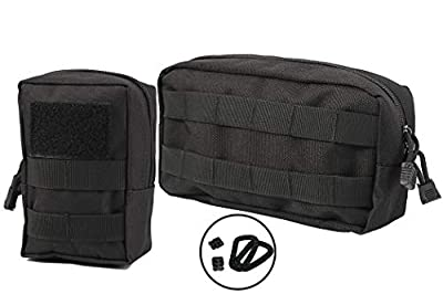 LefRight 2 Pack Small Molle Pouch Multipurpose EDC Compact Zipper Pouch Utility Tool Bag Combo Clips from LefRight