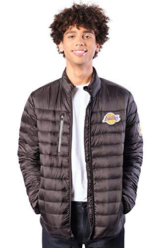 Ultra Game NBA Los Angeles Lakers Mens Lightweight Packable Puffer Down Jacket, Black, Medium
