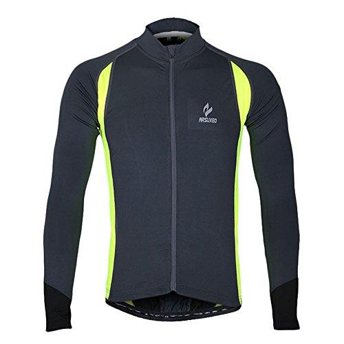 emansmoer Homme Respirante Quick Dry Outdoor Sport Veste de Cyclisme équitation Vélo Jersey Élastique Slim Tops (XXX-Large, Gris)