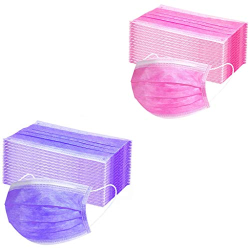50 pcs 3-ply Disposable Cover Unisex Oral Protection Filter Hygiene and Protection Against Dust Waterproof Cover, High Filtration and Ventilation Security (Purple+Hot Pink)