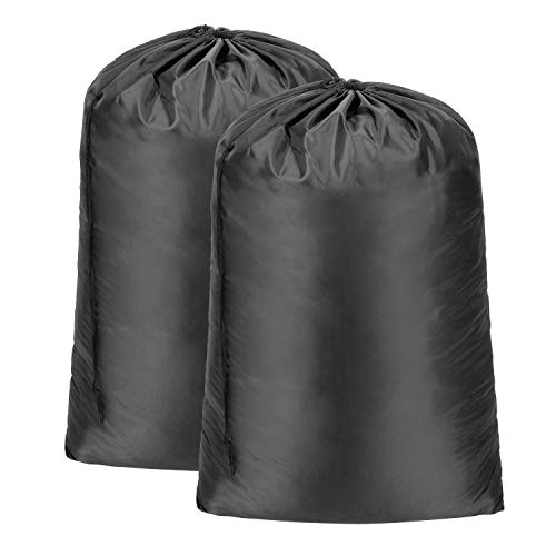 Meowoo Wäschesack Wäschebeutel Reise Groß Faltbarer Kordelzug Aufbewahrungstasche Schmutzige Kleidertasche, Maximal 10kg und 120L(2xSchwarz)